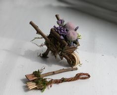 Fairy's Work by Olive* Miniatures ~ Garden Fairy Wheelbarrow Handcrafted, Fairy Garden Accessories by OliveNatureFolklore on Etsy https://www.etsy.com/ca/listing/227686807/fairys-work-by-olive-miniatures-garden