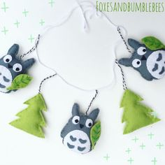 Cute my neighbour Totoro garland made up of three Totoros with trees. Garland is carefully made using felt and will look great in the bedroom