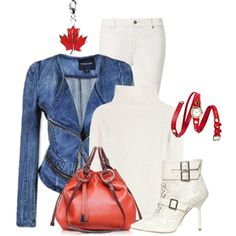 Denim Jacket & Bright Color Bag, created by dgia on Polyvore