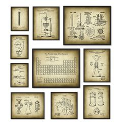 Chemistry Art Print Set of 10  Periodic Table of by QuantumPrints