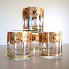 black and gold drinking glasses | GLAMOROUS VINTAGE BARWARE 1960s Drinking Glass Set Metallic Gold and ...