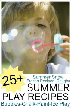Tons of Summer Play Recipes- bubbles, sidewalk chalk, homemade colored sand, and lots of play recipes to help kids stay cool like icy doughs, Summer Snow, ice paints, and MORE!