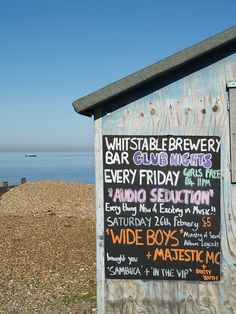 Pub sign Whitstable beach