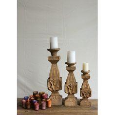 Creative Co-Op Morocco Mango Wood Pillar Candle Holder