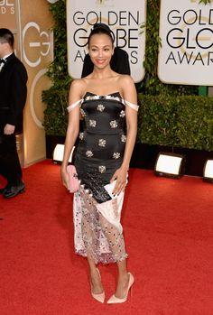 Golden Globes Red Carpet 2014 Photos: See ALL The Dresses, Jewelry & Shoes!  Zoe Saldana in Prabal Gurung, Bottega Veneta, Lorraine Schwartz