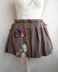 High Waisted Steampunk Skirt Mini Skirt Applique by Elyseeart