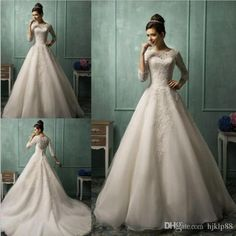 Amelia Sposa Long Sleeve Wedding Dresses For 2015 Spring Plus Size Organza Lace Sheer Crew Neck Personalized Cheap A-Line Bridal Ball Gowns Online with $123.72/Piece on Hjklp88's Store