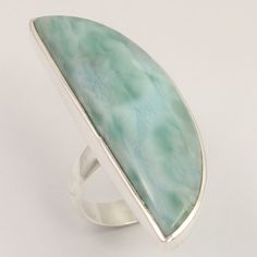 Womens Fashion Ring Size US 7 Natural LARIMAR Gemstone 925 Solid Sterling Silver #Unbranded