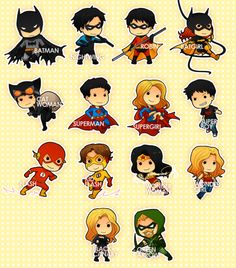 Chibi Batman, Nightwing, Robin, Batgirl, Catwoman, Superman, Supergirl, Superboy, Flash, Kid Flash, Wonder Woman, Wonder Girl, Black Canary & Green Arrow.