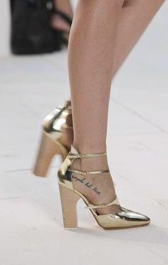 shoes at Chloe Spring 2013...metallic, chunky heel