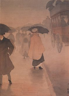 Yoshio Markino (1874-1956) - A Busy Street , 1906