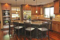 Granite - simple, Hardwood, Breakfast Bar, Mediterranean, Flat Panel, Glass Panel, L-Shaped, Undermount, Pendant