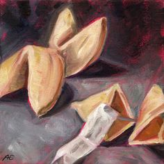 """Fortune Cookies"" - oil on canvas board - Anja Essler"