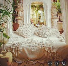 White Lace & Muslin House Gowns with white bed throe and cushions by @serasestra