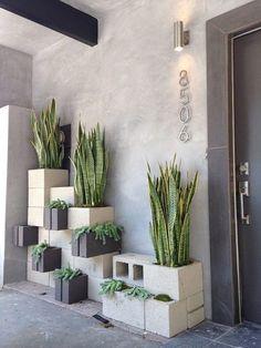 Maceteros con bloques de cemento
