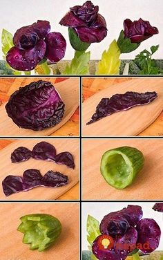 The photo - Food Carving Ideas Fruits Decoration, Vegetable Decoration, Veggie Art, Fruit And Vegetable Carving, Food Design, Creative Food Art, Food Carving, Food Garnishes, Garnishing Ideas