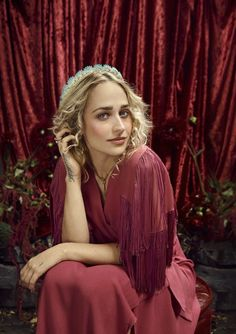 Jemima Kirke with bohemian loose-fitting dresses on Bust Magazine December 2015 Photoshoot
