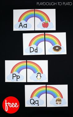 Beginning Sound Rainbows – Playdough To Plato Free Beginning Sound Rainbows! What a fun way to help kids practice letter sounds. This would be perfect for a kindergarten or preschool literacy center or ABC game. Guided Reading Activities, Alphabet Activities, Preschool Activities, Preschool Alphabet, Spring Activities, Letter Sound Activities, Cognitive Activities, Rainbow Activities, Letter Games