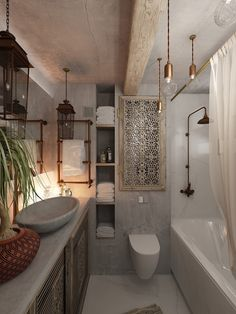 Bathroom hacks - White tiles inside your bathroom may go good with vibrantly col. - Bathroom hacks – White tiles inside your bathroom may go good with vibrantly colored walls. Feminine Apartment, Urban Apartment, Apartment Design, Studio Apartment, Home Interior, Bathroom Interior, Interior Decorating, Interior Design, Decorating Ideas