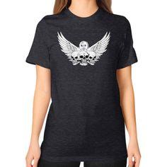 Tri-Skull winged Unisex T-Shirt (on woman)