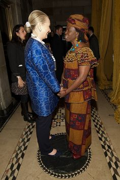 The Honorable Hillary Rodham Clinton and Global Fund for Women President and CEO, Musimbi Kanyoro.