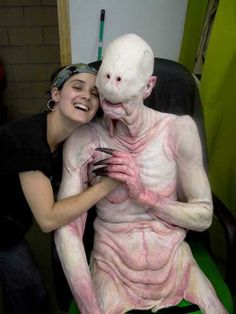 Make-up artist Montse Ribé with Doug Jones as the Pale Man on the set of El Laberinto del Fauno (Pan's Labyrinth)
