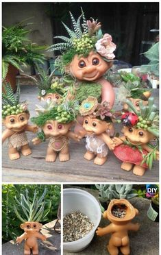 DIY Troll Doll Planters Tutorial & Video – Sandy Cecie Apking to make a succulent terrarium tutorials DIY Troll Doll Planters Tutorial & Video - Sandy Cecie Apking - Diy Garden Crafts, Garden Projects, Troll Dolls, Cactus Y Suculentas, Succulent Terrarium, Succulents Garden, Yard Art, Flower Pots, Flowers