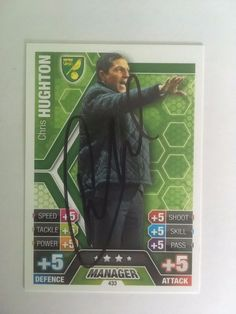 Chris Hughton Norwich Manager Signed Match Attax 2013 Trading Card/autograph