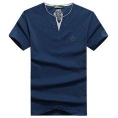 6 Colors Mens Casual V-neck Button Cotton Short Sleeve T-shirt Tee Top - Banggood Mobile