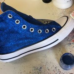 Creating the royal blue glitter high top converse Mens Running sneakers adidas workout Glitter Converse, Glitter Shoes, Blue Glitter, Bedazzled Converse Diy, Diy Glitter Sneakers, Diy Converse, Glitter Clothes, Custom Converse, Glitter Makeup