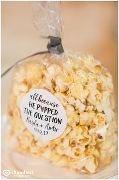 Popcorn guest favors, because he popped the question, cute sweet affordable popular clever wedding favors, Highland Lodge at Liberty Mountain Resort photographers