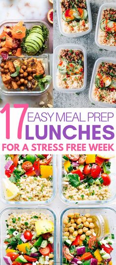 You can prepare 17 healthy lunches for the week - Healthy Snacks for Weightloss Easy Meal Prep Lunches, Prepped Lunches, Easy Meals, Weekly Meal Prep Healthy, Budget Meal Prep, Clean Lunches, Easy Healthy Recipes, Diet Recipes, Healthy Snacks
