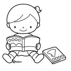 Niños leyendo libro para colorear - Imagui