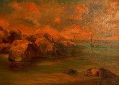 Sugli scogli di Torre del greco (Napoli) anno 1981Dipinto dal vero. Olio su tela. Dim. cm 30 x cm 50. Autore Maestro Alfonso Palma
