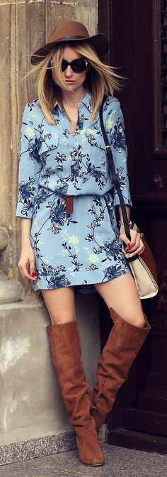 Floral Shirt Dress and Over the Knee Boots - Pop S...