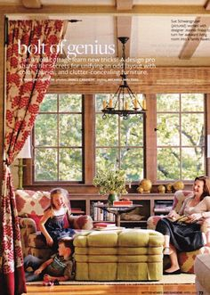 A curtain rod in an unexpected place to slightly separate but not divide rooms (BHG magazine)
