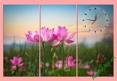 Mẫu vườn sen hồng tỏa ngát trong bộ tranh ghép đồng hồ AmiA 297
