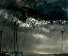 nordababe:  Theodore Major (British, 1908-1999), Dark Sky at Wigan.Oil on board, 77 x 94cm.