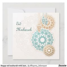 Happy eid mubarak with lanterns and decorations holiday card Eid Greeting Cards, Eid Cards, Eid Card Designs, Happy Eid Mubarak, Eid Greetings, Day Up, Ramadan, Holiday Cards, Lanterns
