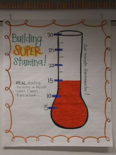 Building Reading Stamina Anchor Chart- love this for whole class read to self chart