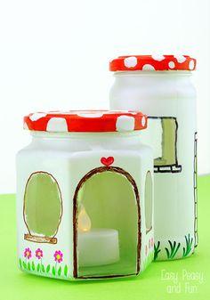 Mason Jar Fairy House Craft - Easy Peasy and Fun
