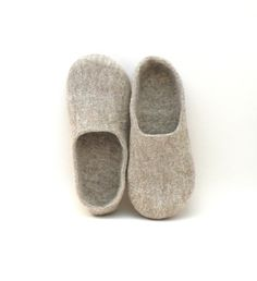 Felted slippers Neutral - natural beige wool clogs - made to order - cozy home shoes - eco friendly - autumn fall winter fashion. $63.00, via Etsy.