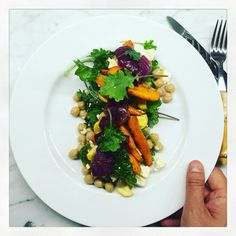 Cumin roasted carrots and red onions with chickpeas, arugula and feta ...
