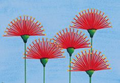 pohutukawa lollipop 1 Watercolor at ArtistRising.com