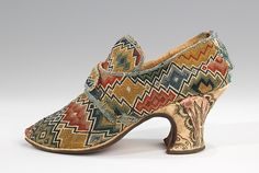 Shoes- The printed silk heel is extremely unusual, as printed silks were not common and practically never used for footwear. Date: 1750–69 Culture: British Medium: wool, linen, silk Dimensions: 5 x 7 1/2 in. (12.7 x 19.1 cm) Credit Line: Brooklyn Museum Costume Collection at The Metropolitan Museum of Art, Gift of the Brooklyn Museum, 2009; Gift of Mrs. Clarence R. Hyde, 1928 Accession Number: 2009.300.1407a, b