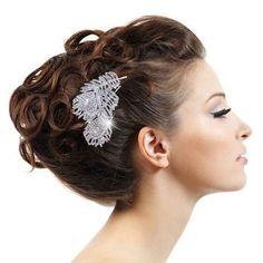 ヴィンテージスタイルウェディングブライダルヘアくし、結婚式のヘアアクセサリークリスタルhiar櫛孔雀の羽くしブライダルヘアジュエリーLL0
