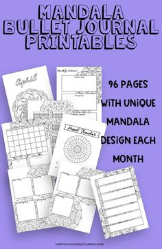 A whole year of planner printables. Each month with a unique mandala design to color for relaxation. Weekly, monthly and tracker pages. #plannerprintable #bulletjournalprintable #bulletjournaltheme #plannertheme #mandala #bujo #planners Planner Sheets, Printable Planner Pages, Bullet Journal Printables, Bullet Journal Themes, Planner Template, Planner Inserts, Templates Printable Free, Bullet Journal Mandala, Bujo