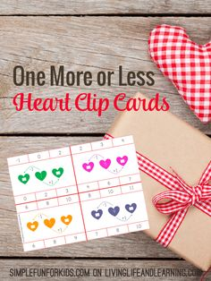 Does your child know to add or subtract by one? These one more or less heart clip cards are a fun way to add math to your day.  #hearts #Valentinesday #math #preschool #kindergarten #homeschool