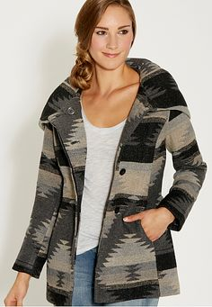 coat in ethnic pattern with hood - maurices.com