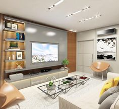 11 ideas for you to embellish the area of your television. Turn your living room into the most beautiful place in the house! Casa Wendy, Salas Home Theater, Living Room Decor, Living Spaces, Living Room Tv Unit Designs, Tv Wall Design, Home Tv, Family Room, Interior Design